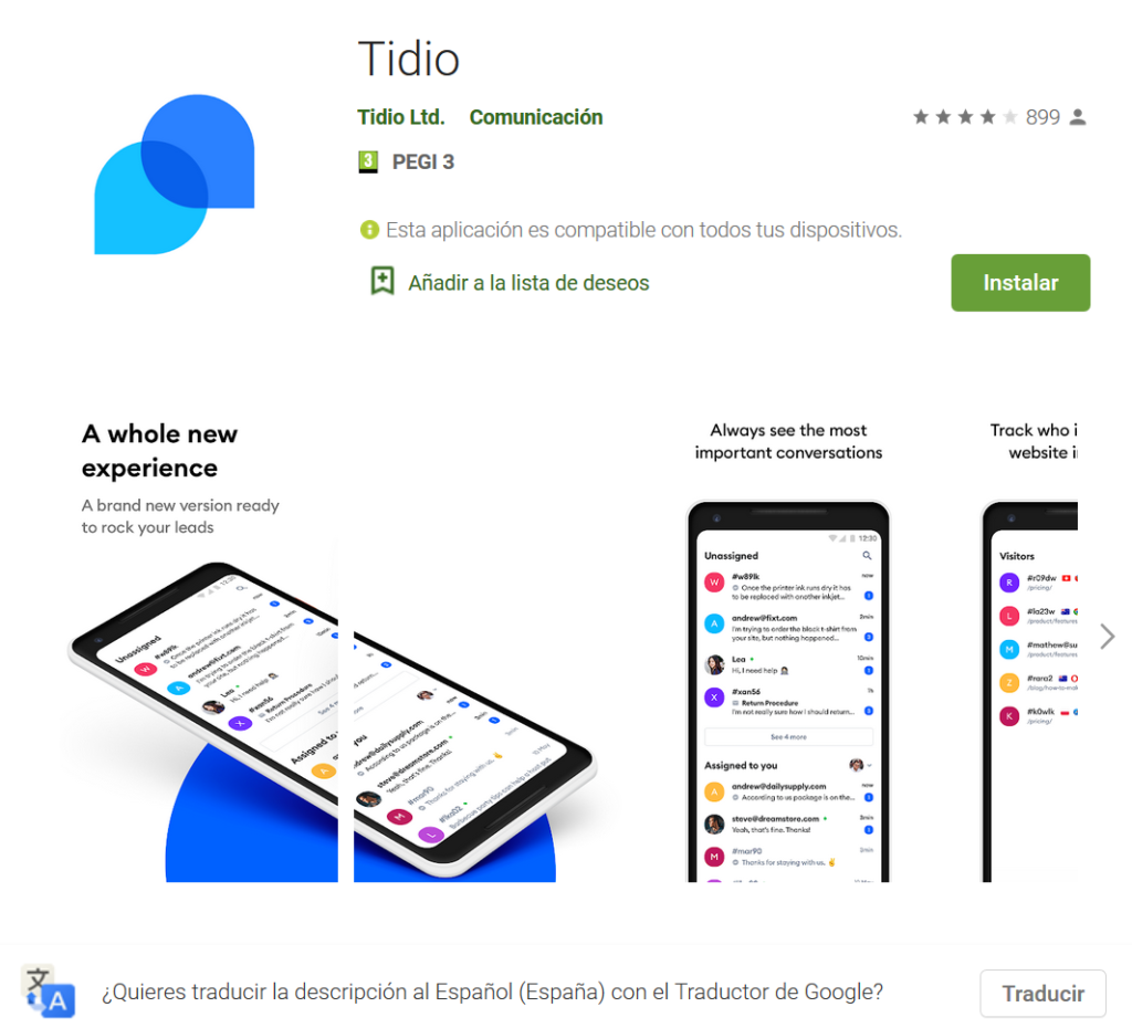 Tidio app live chat